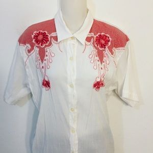 Vintage blouse with coral design